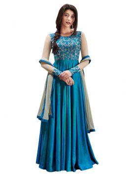 Blue and Grey Silk Anarkali  Suit