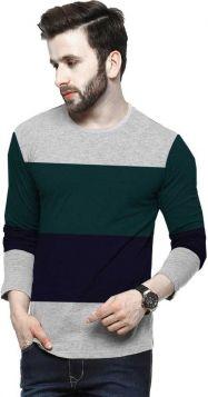 Color Brown Men Round or Crew Grey, Black T-Shirt