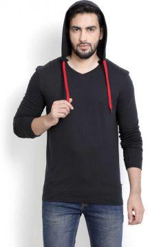 PerfectFit Solid Men Hooded Black T-Shirt