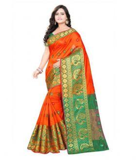 New Orange Banarasi Silk Saree